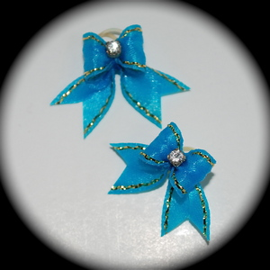 "3/8"" bow - single satin w/tails - turquoise w/ gold edge"