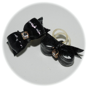 "3/8"" bow - single v-cut satin - black"