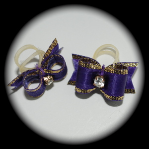 "3/8"" bow - single v-cut fancy gold - purple"