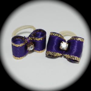 "3/8"" bow - single fancy gold - purple"