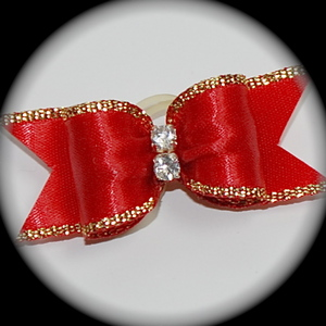 "5/8"" bow - single fancy gold - red"