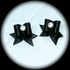 Maltese Bows - Satin - Black w/ CZ center
