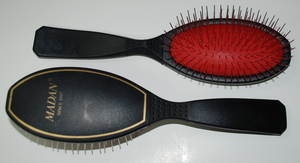 Madan Pin Brush: Medium Size, Black w/ red pad (Very Firm)